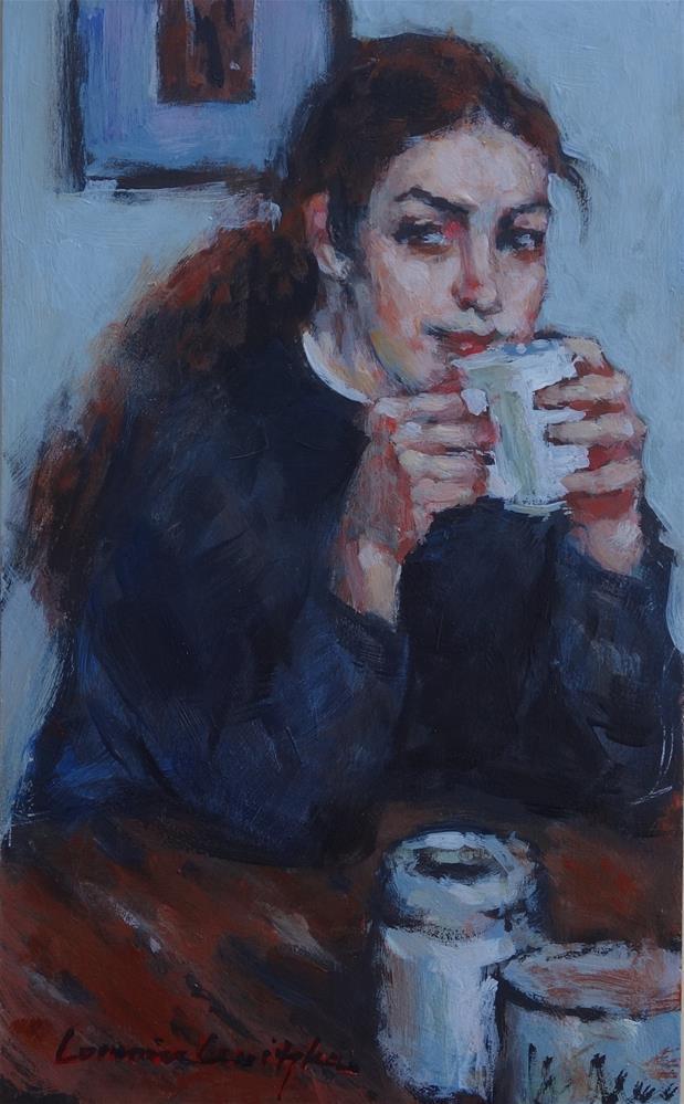 """""""Morning Coffee"""" original fine art by Lorraine Lewitzka"""