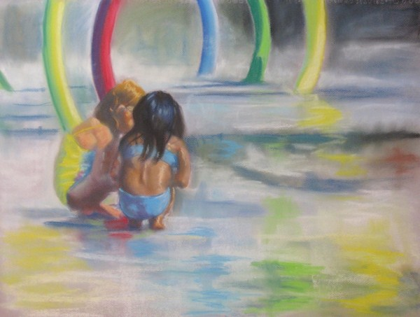 """Spray Park 1"" original fine art by Lori Jacobs - Farist"