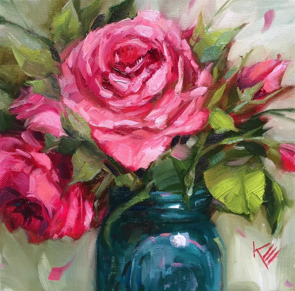 """Roses in vintage jar "" original fine art by Krista Eaton"