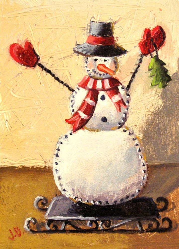 """""""Tin Snowman"""" original fine art by Janet Broussard"""