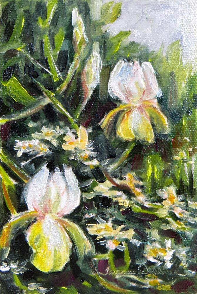 """Wild Roses and Iris"" original fine art by Tammie Dickerson"