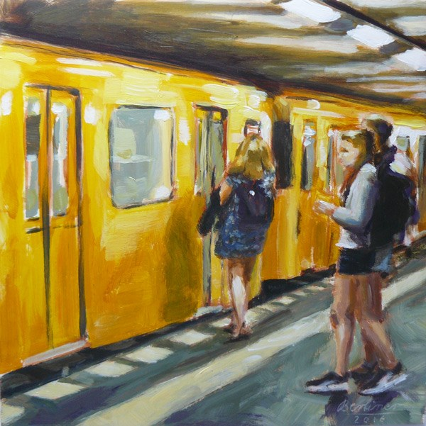 """062 U-Bahn"" original fine art by Anja Berliner"
