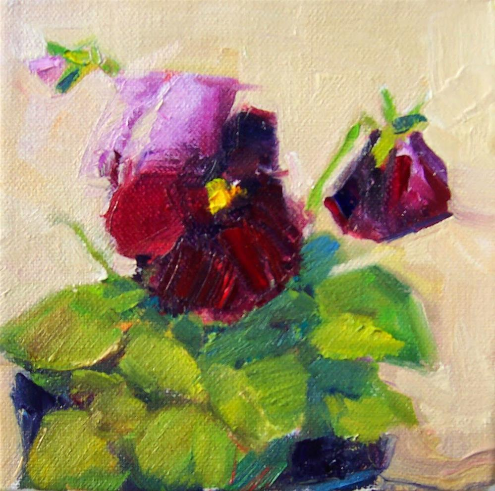 """Maroon Pansies,still life,oil on canvas,6x6,price$200"" original fine art by Joy Olney"