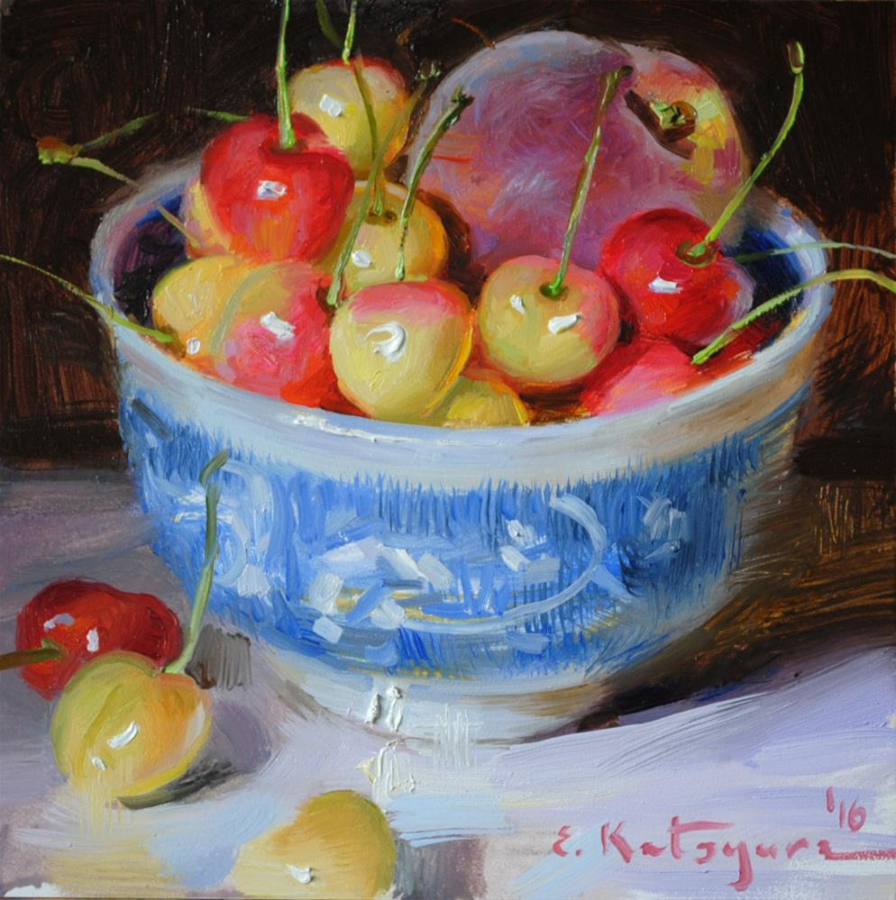 """Peach and Cherries"" original fine art by Elena Katsyura"