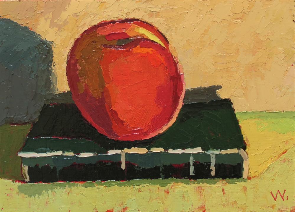 """A peach and a prayer"" original fine art by Joan Wiberg"