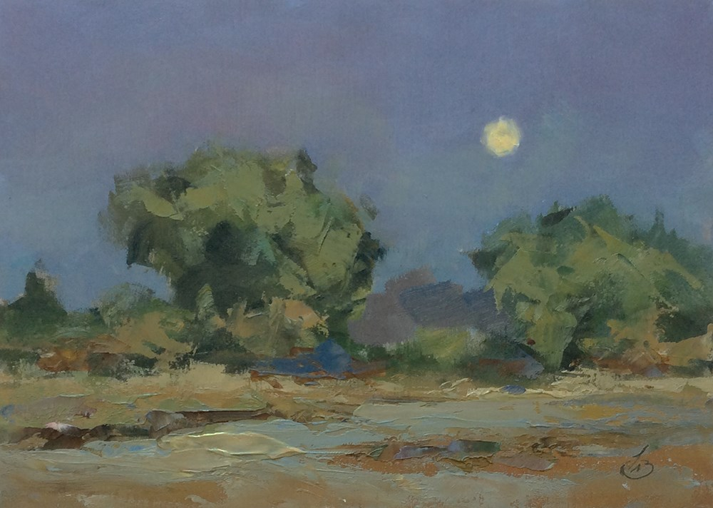 """TWILIGHT WITH A RISING MOON"" original fine art by Tom Brown"