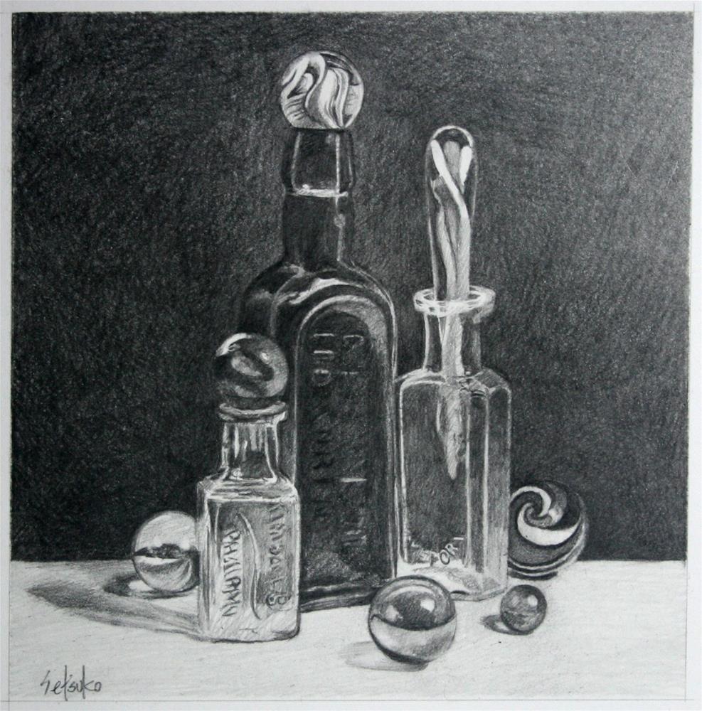 """""""Bottles"""" original fine art by Setsuko Lawson"""