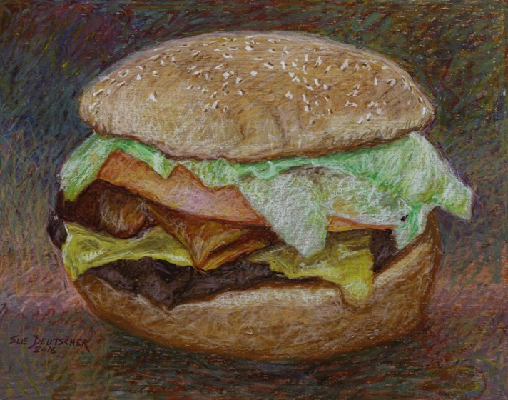 """Keep Your Paws off My Burger"" original fine art by Sue Deutscher"