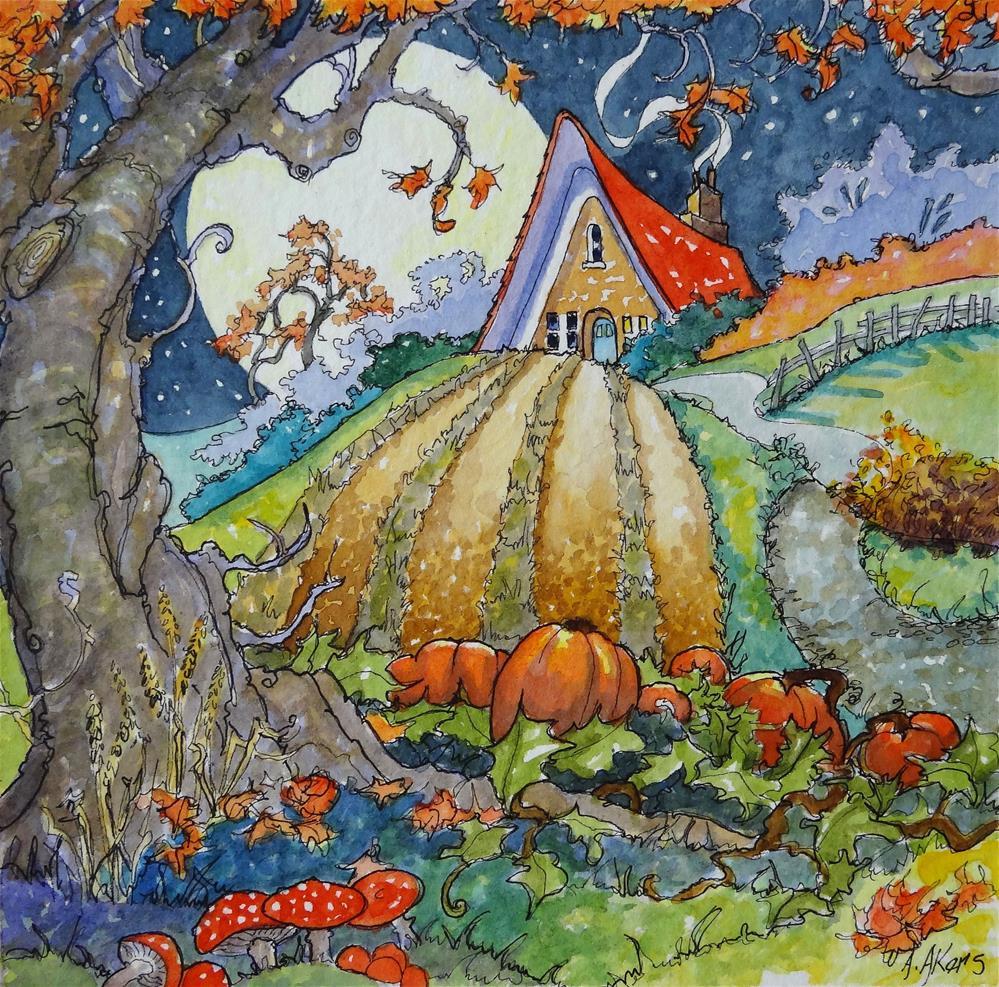 """Full Moon Harvest Storycook Cottage Series"" original fine art by Alida Akers"