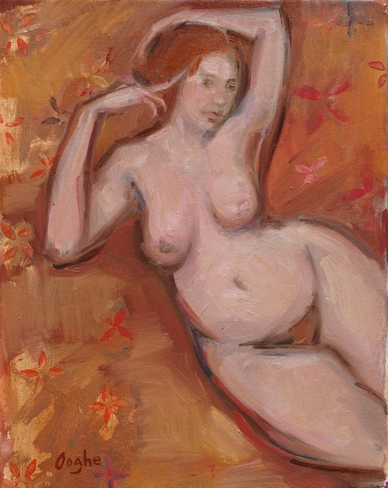 """Reclining on Orange"" original fine art by Angela Ooghe"