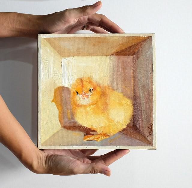 """Chick in the box III"" original fine art by Haze Long"