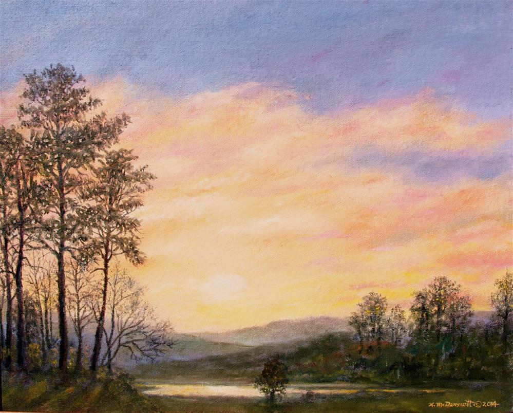 """PEACEFUL RIVER VALLEY"" original fine art by Kathleen McDermott"