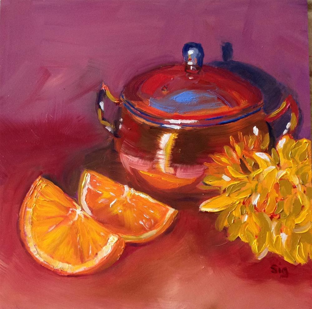 """""""Copper, flower, & Fruit"""" original fine art by Sigrid Victor"""