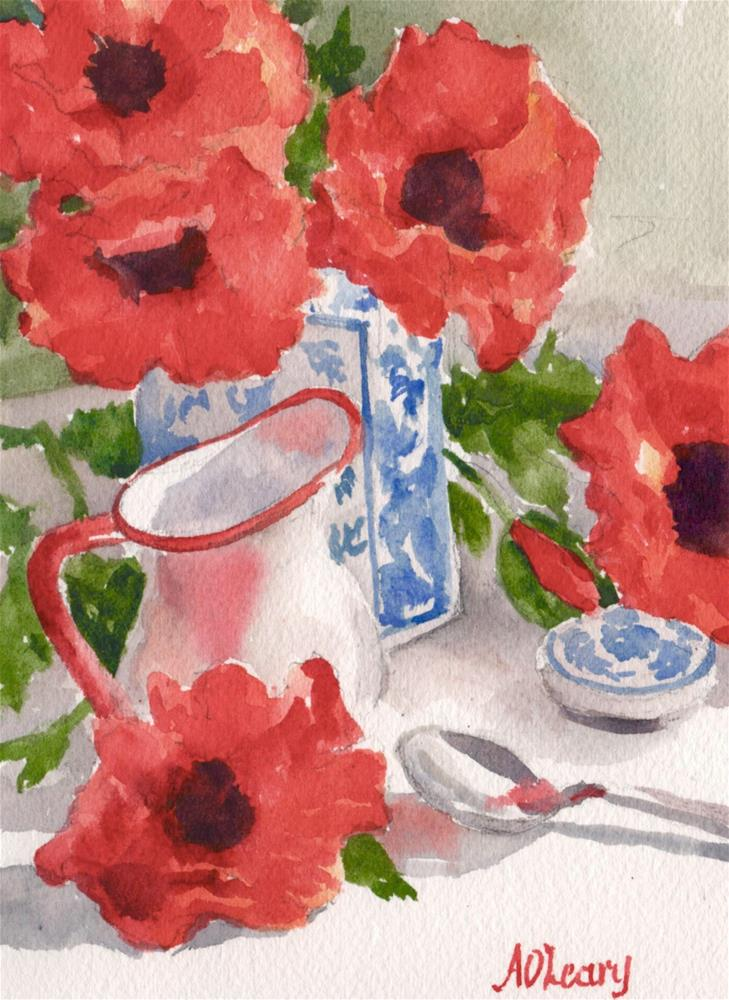 """""""Poppies and Blue Vase"""" original fine art by Alice O'Leary"""