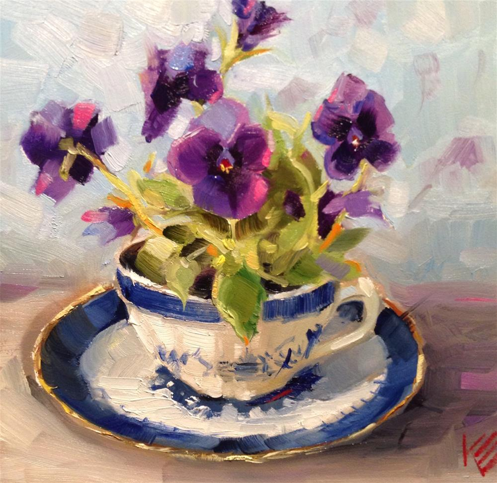 """Cup of Pansies"" original fine art by Krista Eaton"