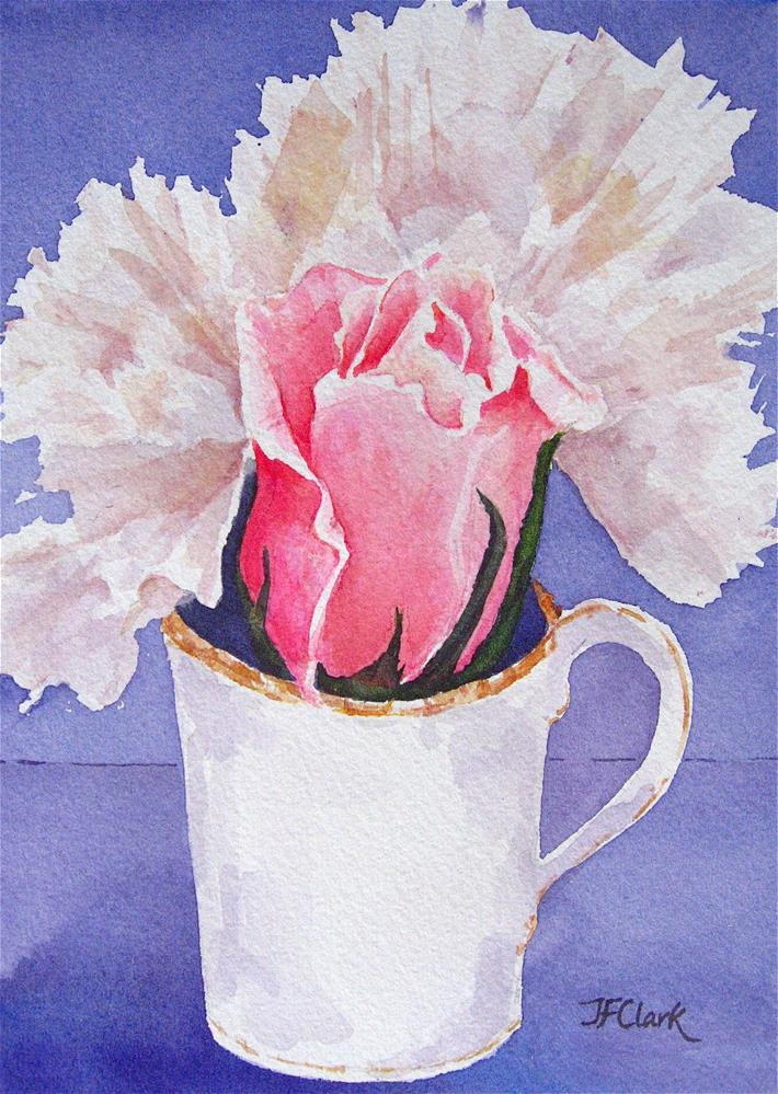 """Rosebud with Carnations"" original fine art by Judith Freeman Clark"