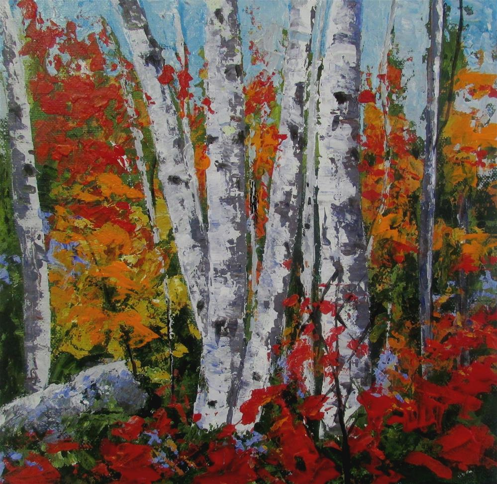 """12 x 12 inch acrylic Fall Splender"" original fine art by Linda Yurgensen"