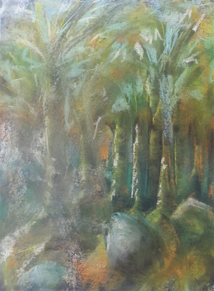 """Trees and a Rock"" original fine art by Phyllisha Hamrick"