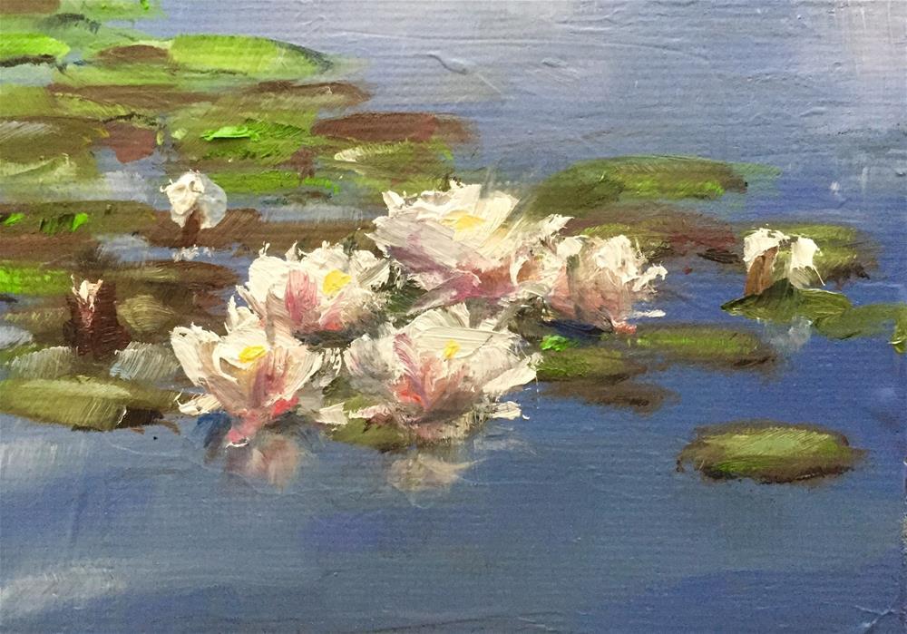 """Morning Water Lilies"" original fine art by Gary Bruton"