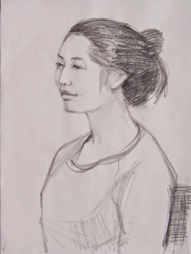 """Esther,portrait,graphite drawing on paper,24x18,price$200"" original fine art by Joy Olney"
