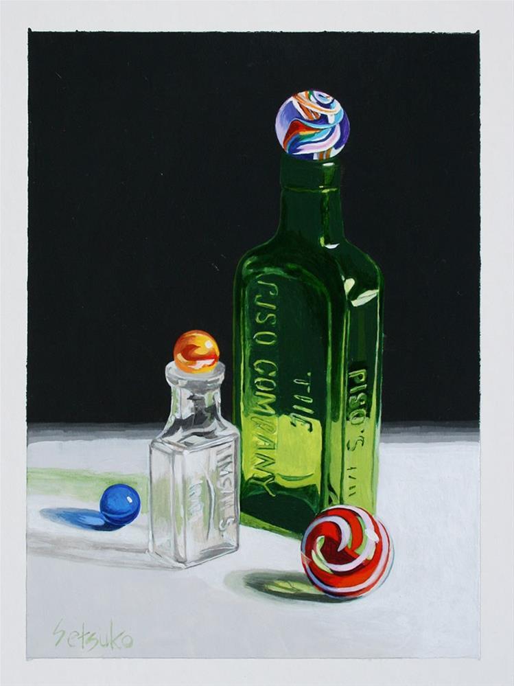 """Bottoles"" original fine art by Setsuko Lawson"