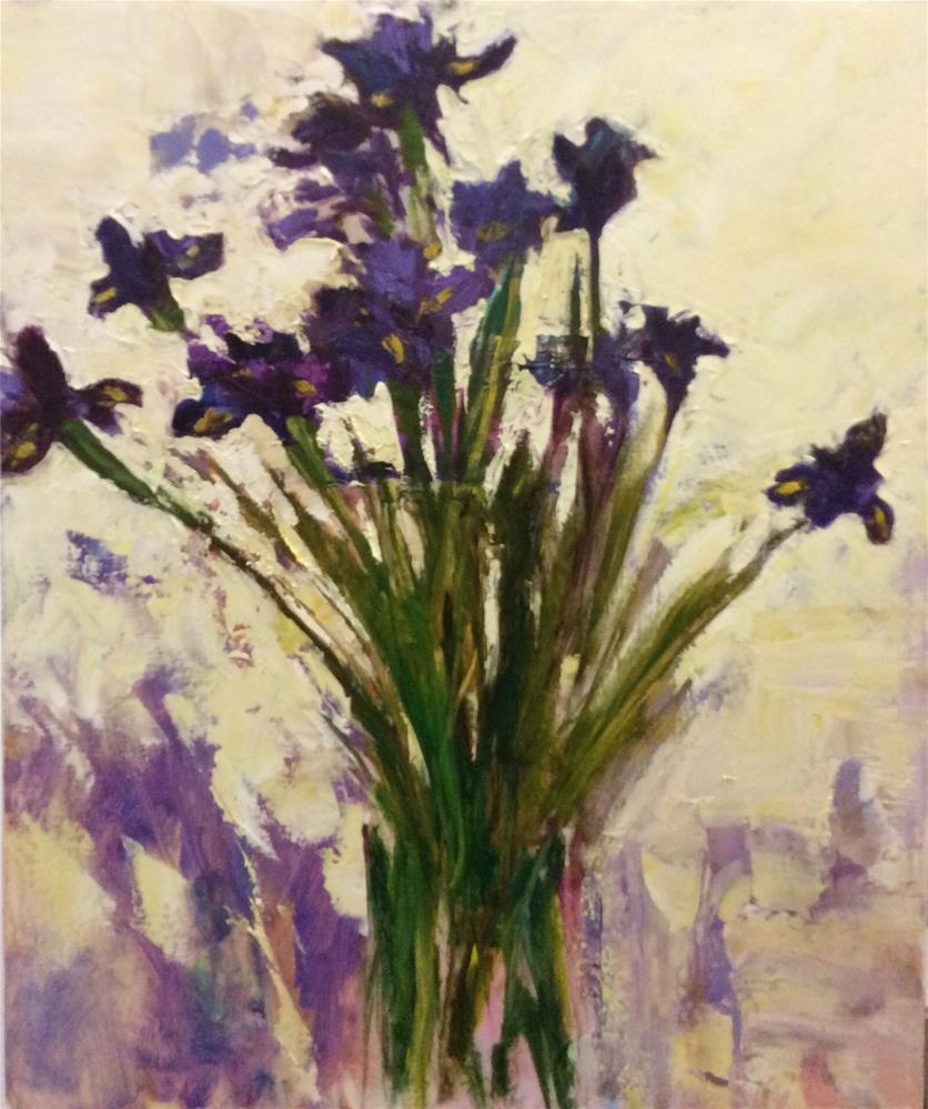 """Purple Irises"" original fine art by John Shave"