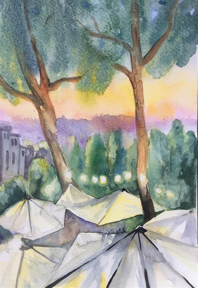 """Party under umbrellas"" original fine art by Natasha Ramras"