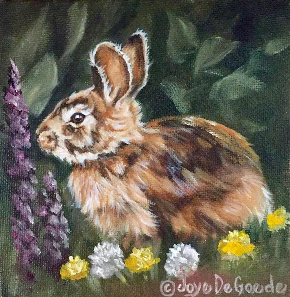 """Bloomin Bunny (c) JoyEful Party Animal (TM)"" original fine art by Joye DeGoede"