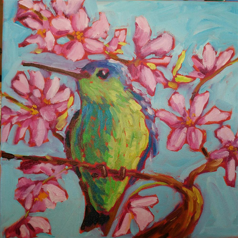 """Hummingbird in the blossoms"" original fine art by Robyn Wellman"