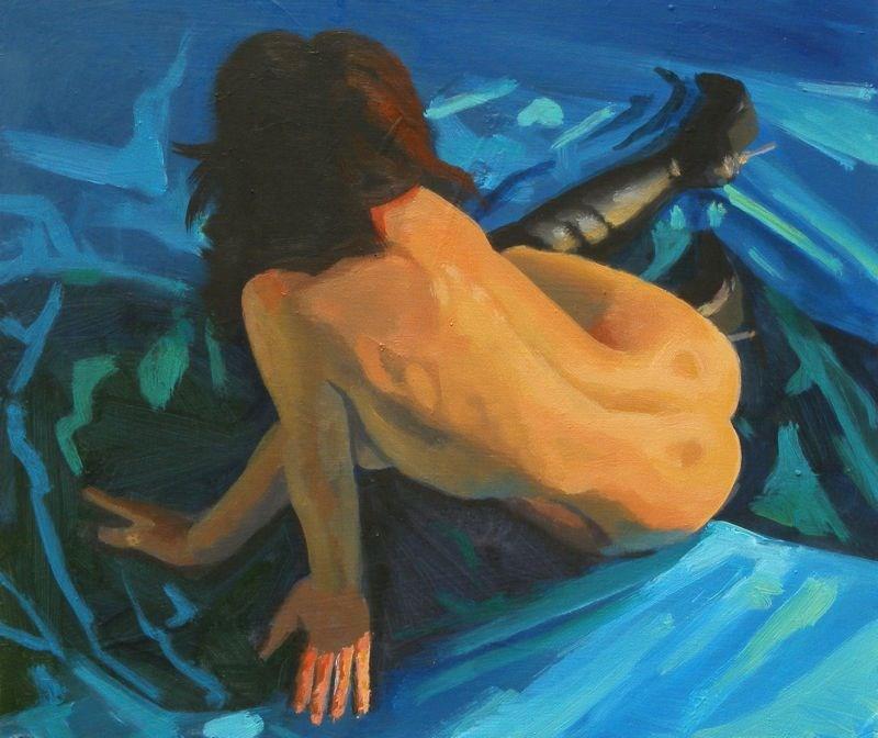 """""""Figure on blue"""" original fine art by Peter Orrock"""
