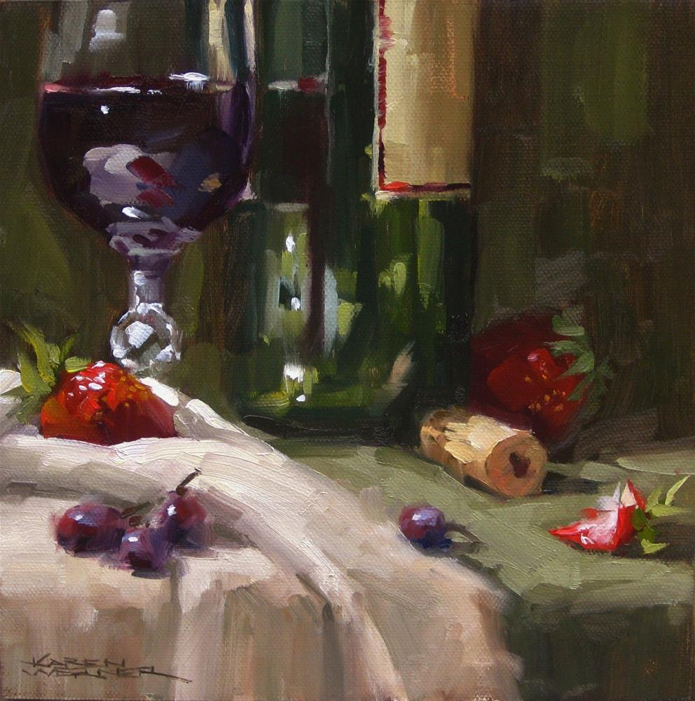 """Wine & Fruit"" original fine art by Karen Werner"