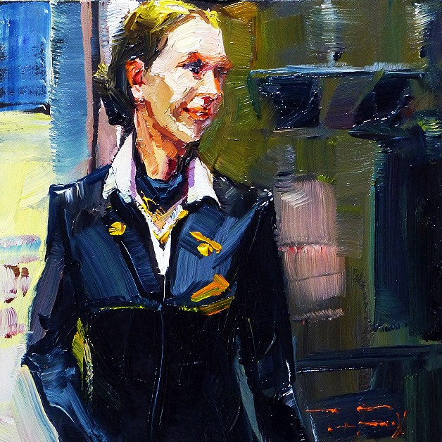 """Stewardess"" original fine art by Jurij Frey"