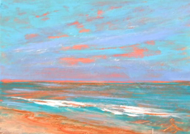 """3215 - PEACH BEACH - ACEO Series"" original fine art by Sea Dean"