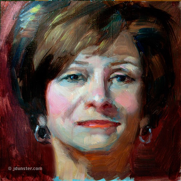 """Silver Earrings, Brenda"" original fine art by J. Dunster"