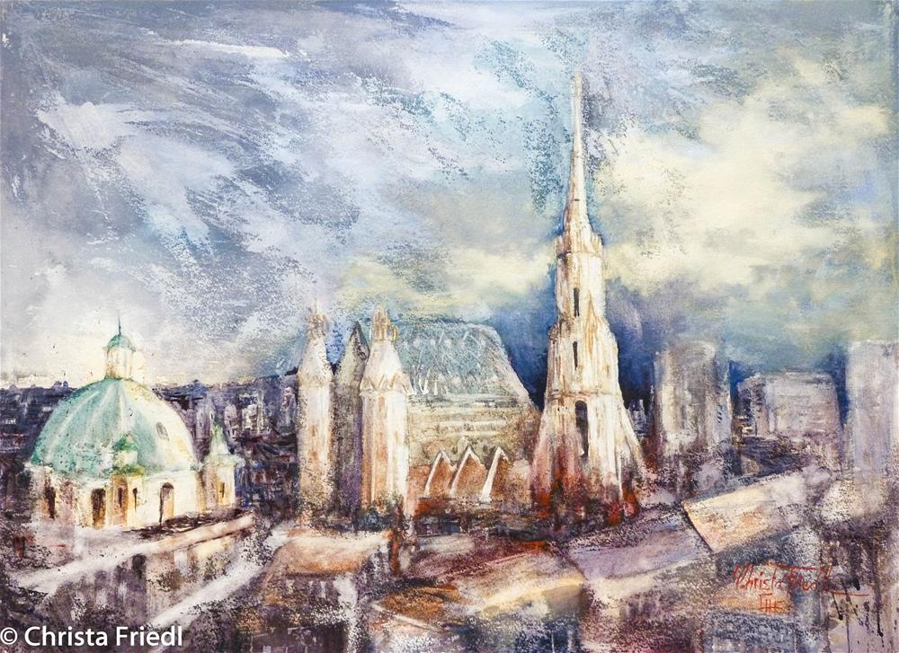 """Storm over Vienna"" original fine art by Christa Friedl"