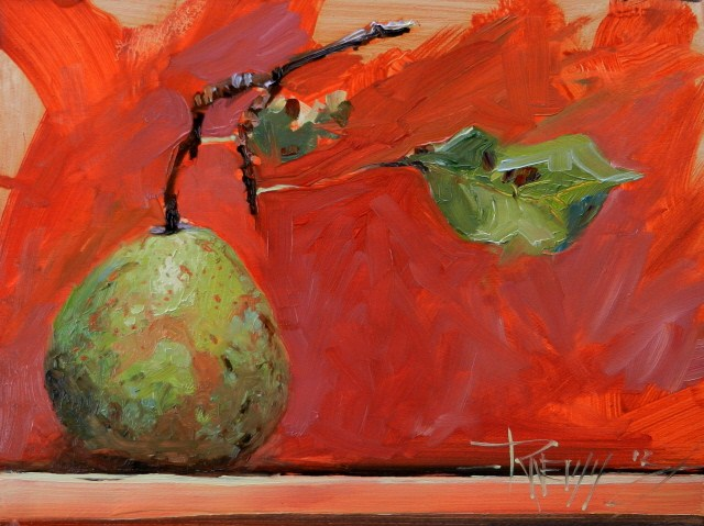 """Wild Pear  still life, oil painting from life by Robin Weiss"" original fine art by Robin Weiss"