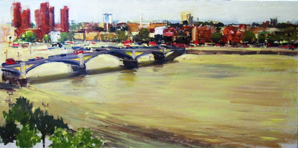 """Battersea Bridge without Titanium White"" original fine art by Adebanji Alade"