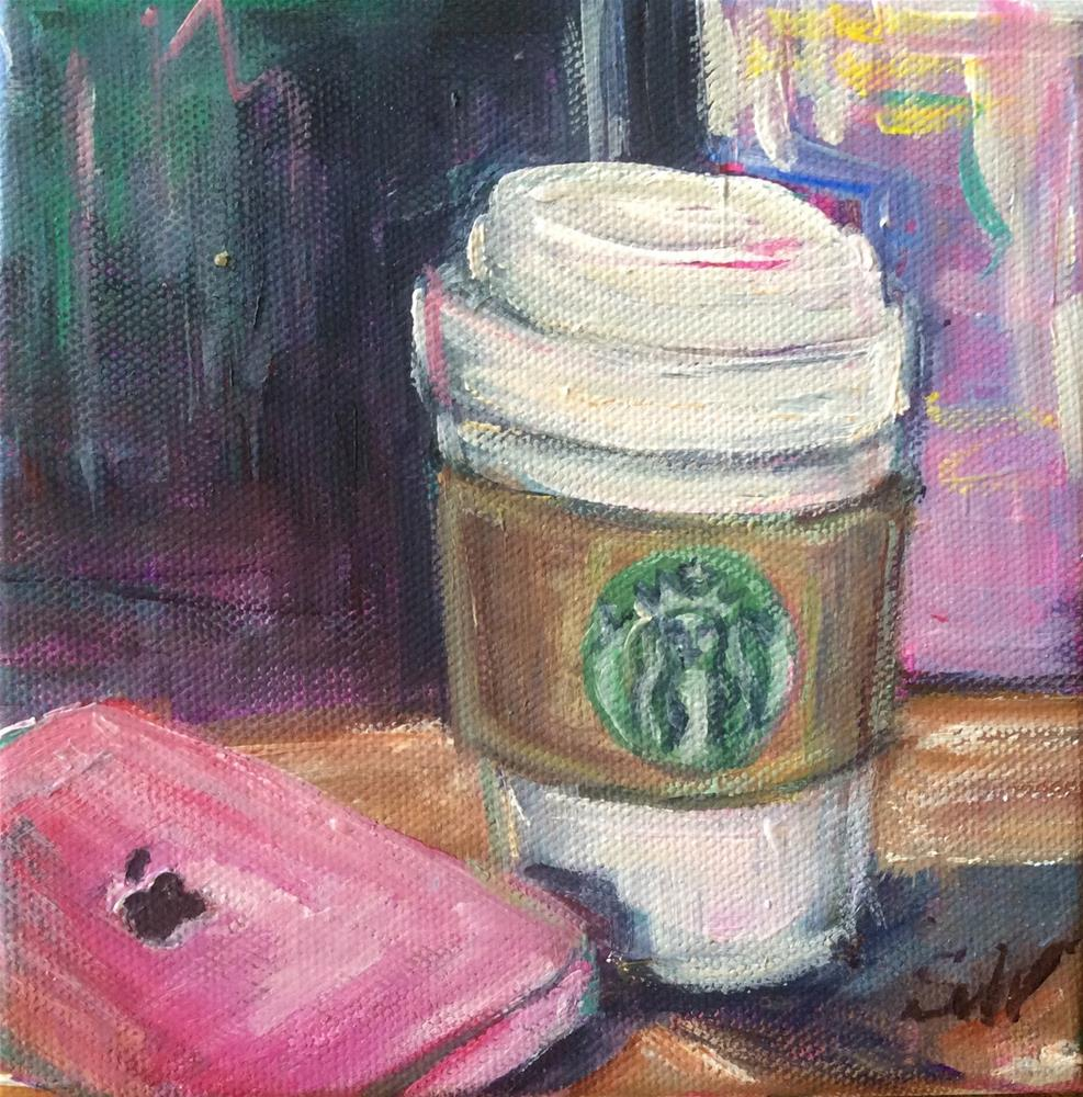 """Starbucks coffee and iphone"" original fine art by Sonia von Walter"
