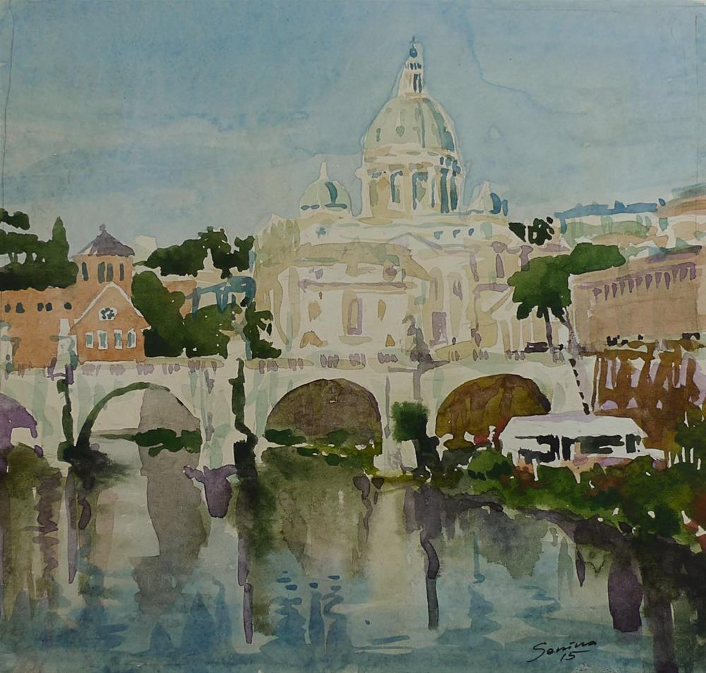 """Anсient bridge in Rome"" original fine art by Elena Senina"