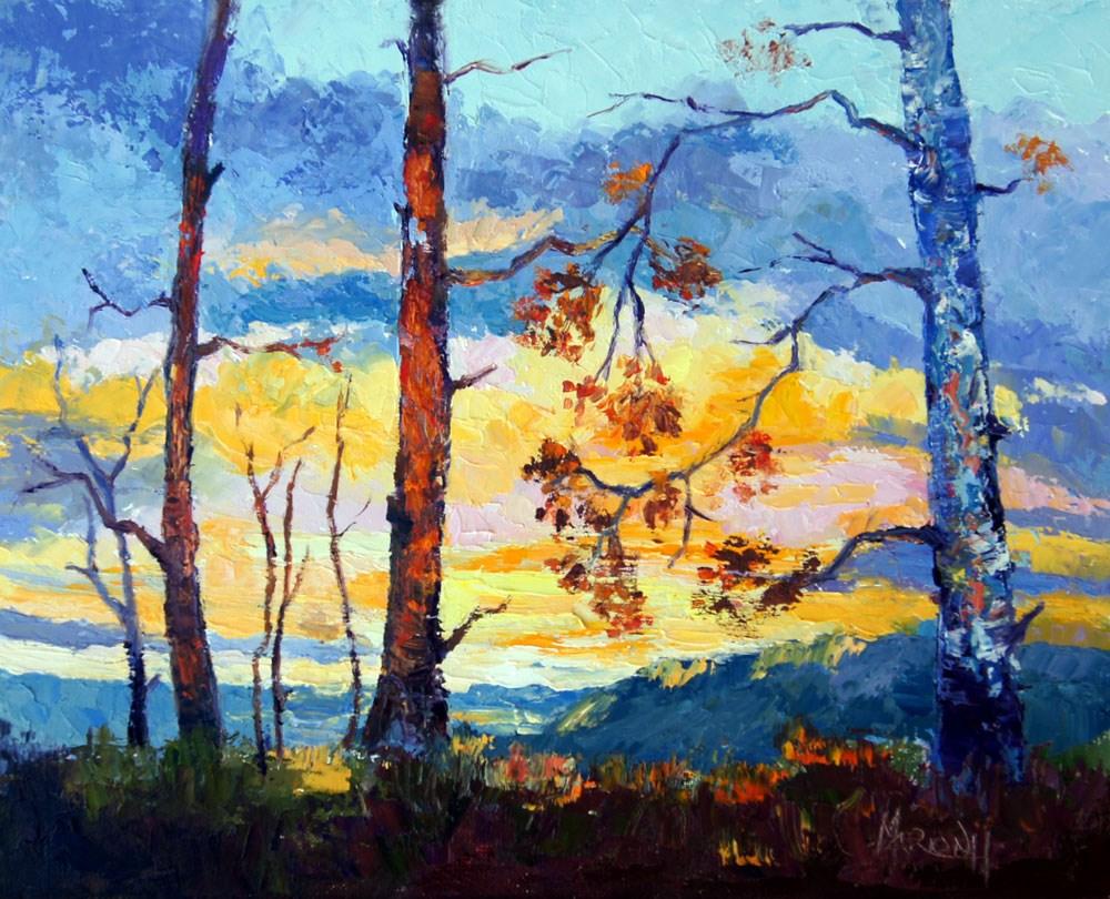 """""""sunset Silhoettes"""" original fine art by Marion Hedger"""
