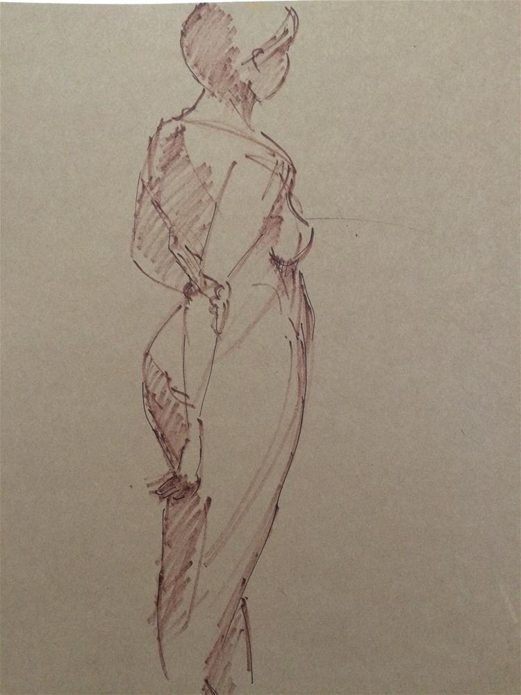 """Girl's Back pose"" original fine art by Naomi Bautista"