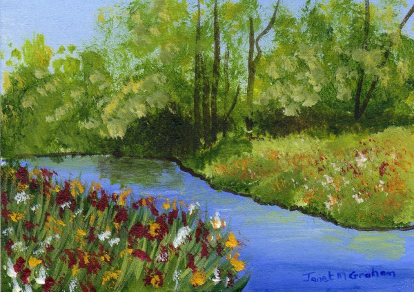 """Flowers by the River ACEO"" original fine art by Janet Graham"