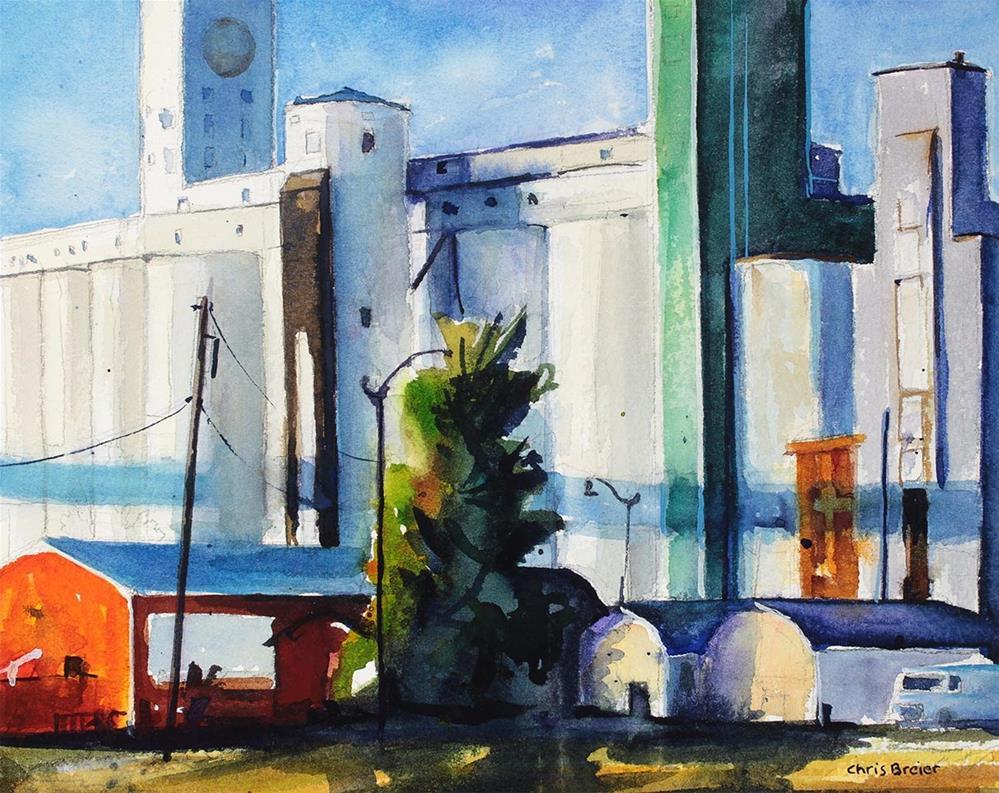 """Grain Elevators"" original fine art by Chris  Breier"