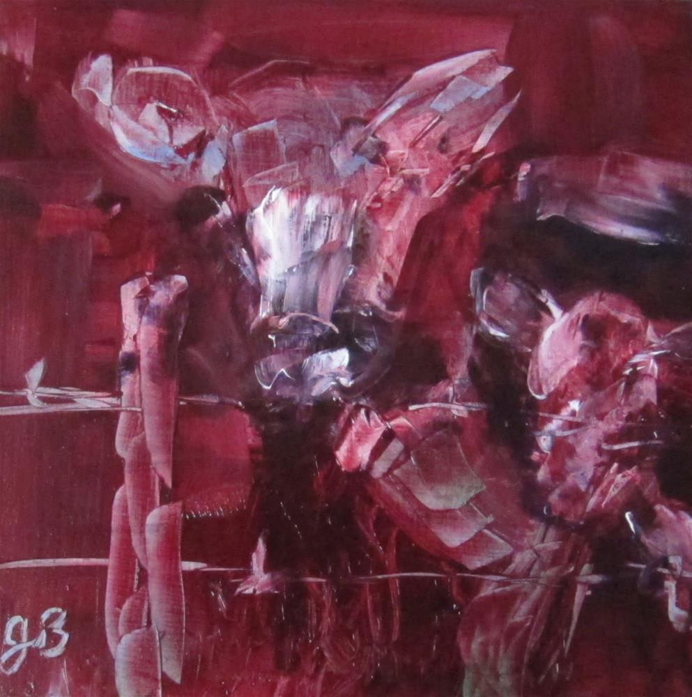 """Red cow"" original fine art by Janine Blackburn"