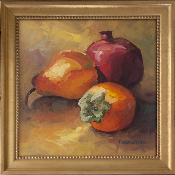 """Pear, Pom and Persimmon Still llife painting"" original fine art by Deb Kirkeeide"