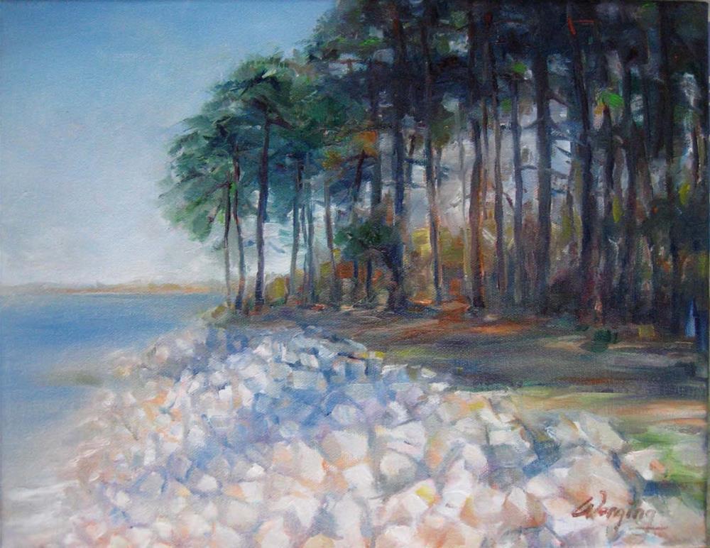 """morning Lake"" original fine art by Wenqing Xu"