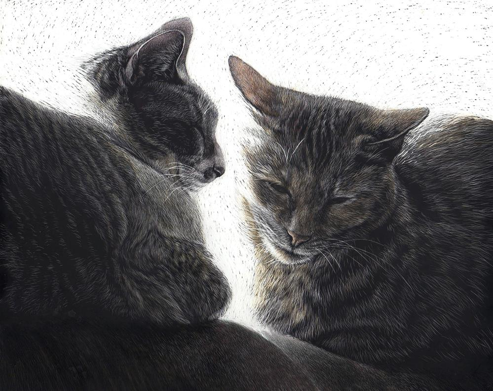 """Being Cats"" original fine art by Sandra LaFaut"
