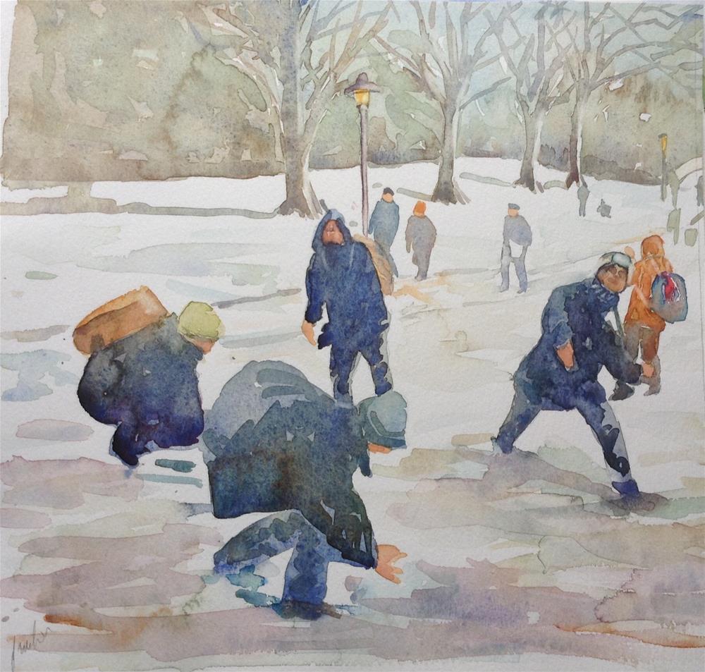 """Snow fight "" original fine art by Joseph Mahon"