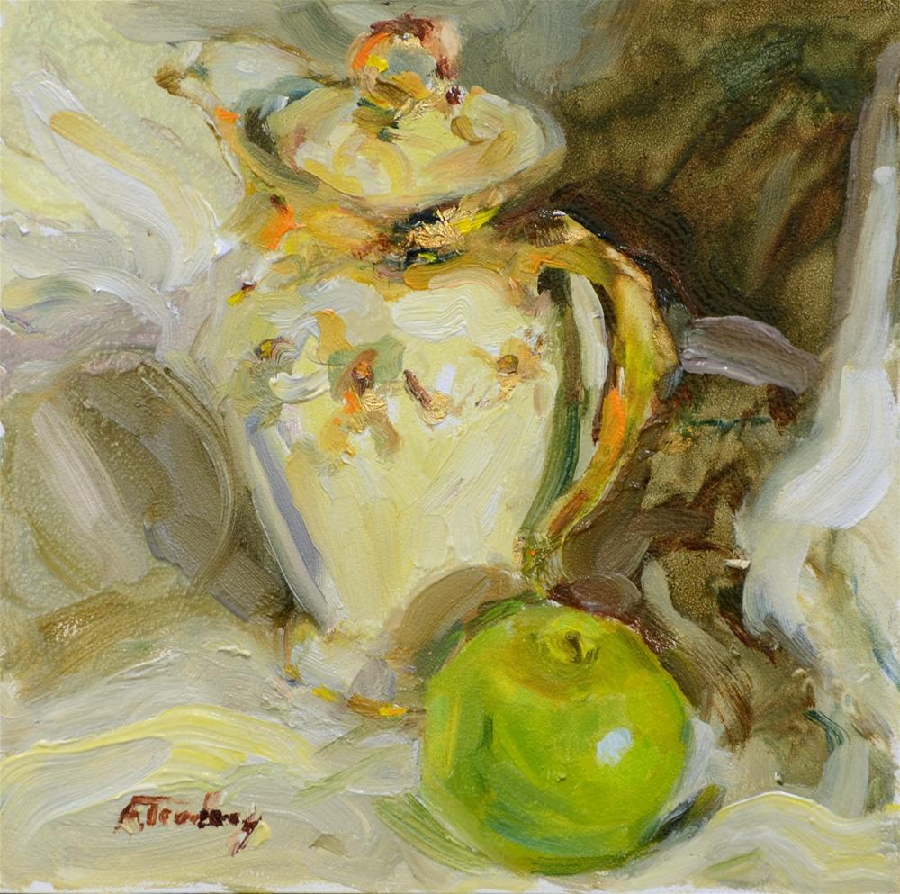 """French Vase with Green Apple"" original fine art by alicia tredway"