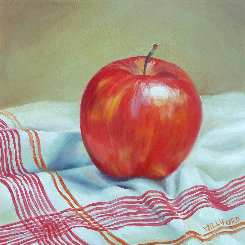 """Apple with Red Stripes"" original fine art by Kathleen Williford"